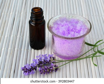 Lavender sugar scrub with essential oil, calming homemade skin care.