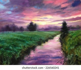 Lavender Sunset Nature landscape painting