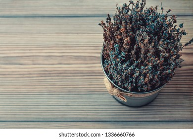 lavender in a turquoise shade in a metal pail stands on a wooden surface