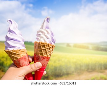 Lavender and vanilla icecream with the field in Japan
