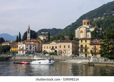 LAVENO, ITALY - August 4, 2016: Views of the Italian town of Laveno in Lago Maggiore from the ferry.