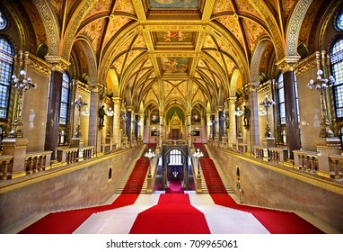 The lavish Grand Staircase of the Hungarian Parliament, Budapest. Date taken: 14.2.2017