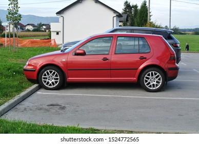 LAVRICA, SLOVENIA - OCTOBER 7, 2019: Volkswagen Golf Mk 4 popular German compact 1990s class leader hatchback car