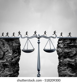 Law and attorney solution concept as a group of lawyers or corporate businessmen and businesswomen crossing cliffs helped by a justice scale as a bridge to legal help with 3D illustration elements.
