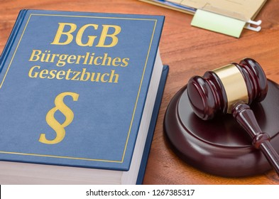 A law book with a gavel - German Civil Code - Buergerliches Gesetzbuch