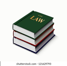 Law books stack up