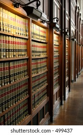 Law books in University of Michigan law school library
