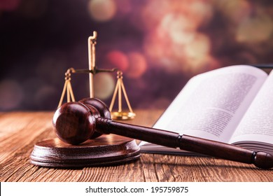 Law code, gavel and books.