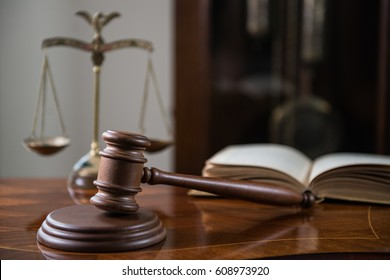 Law Concept. Closeup of gavel in court room