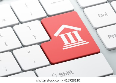 Law concept: Enter button with Courthouse on computer keyboard background, 3D rendering