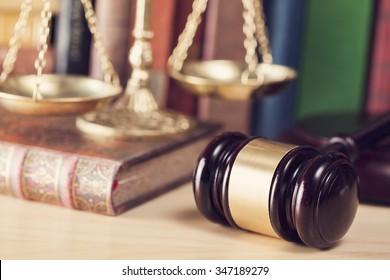 Law concept, gavel, scale and books