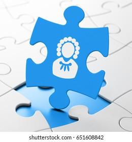 Law concept: Judge on Blue puzzle pieces background, 3D rendering