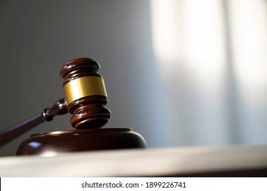 Law concept. Judges gavel on bokeh background.