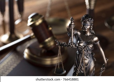 Law concept. Lady justice, gavel, scales of justice composition.