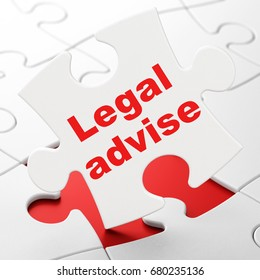 Law concept: Legal Advise on White puzzle pieces background, 3D rendering