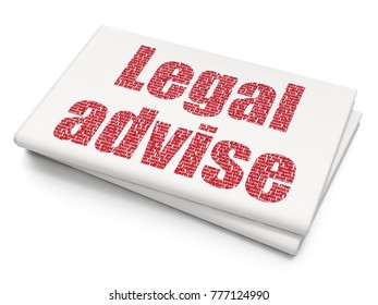 Law concept: Pixelated red text Legal Advise on Blank Newspaper background, 3D rendering