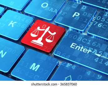 Law concept: Scales on computer keyboard background
