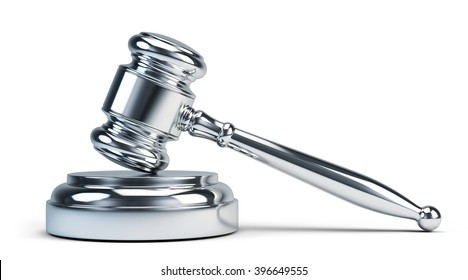 Law concept - Silver judge gavel isolated on white. 3D rendering