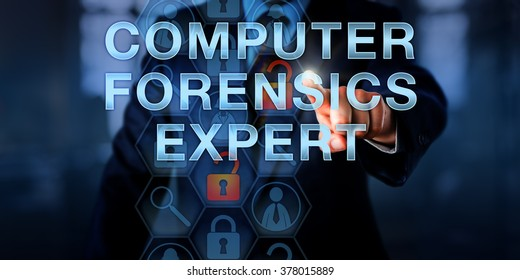 Law enforcement officer is touching COMPUTER FORENSICS EXPERT onscreen. Security technology concept for a specialist capable of investigating data breach and security incidents. Copy space.