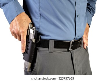 Law Enforcement Professional Man with Holstered Gun Weapon