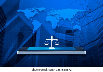 Law flat icon on modern smart mobile phone screen over world map, office city tower and skyscraper, Business legal service online concept, Elements of this image furnished by NASA