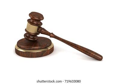 Law Gavel 3D Rendering