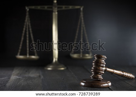 Law Gavel Scales On Dark Background Stock Photo (Edit Now