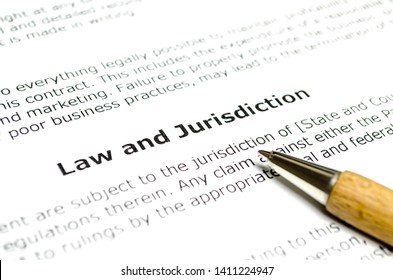 Law and jurisdiction with wooden pen