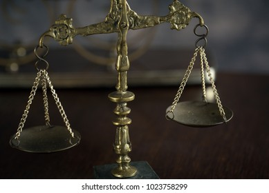 Law and Justice concept. Brown wooden background