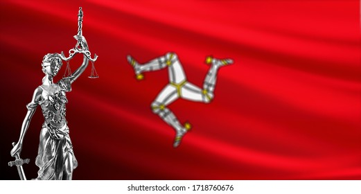 Law and justice in Isle of Man. Isle of Man flag with Themis.