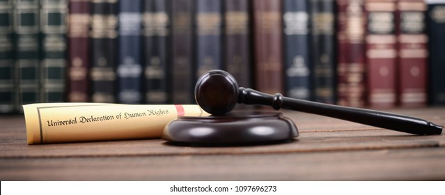 Law and Justice, Judge Gavel, Universal declaration of human rights on a wooden background, human rights concept.