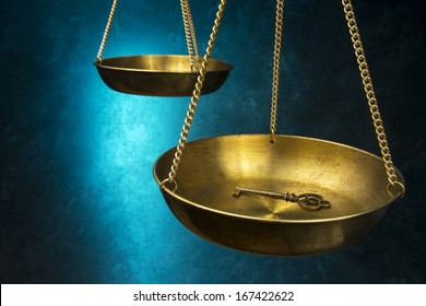 Law Justice Scale with key