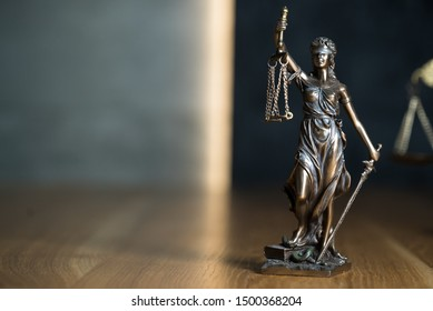 Law and Justice symbols concept, Lawyers modern office