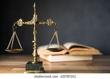 Law and Justice Theme. Composition in court library