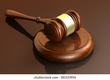 Law, lawyer and justice business concept with a 3d render of a gavel on a wooden brown desktop for banner and law firm background.