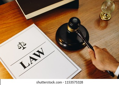 Law legal documents with gavel at the side