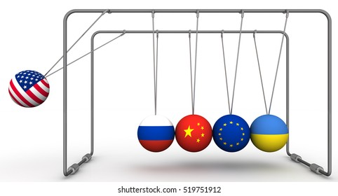 The law of retroactivity of sanctions in geopolitics. The concept.  Ball with flag of the USA brings balls from a state of equilibrium with the flags of other countries. 3D Illustration