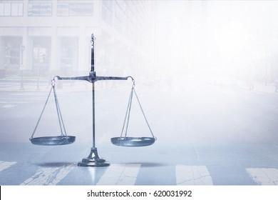 Law scales on table.