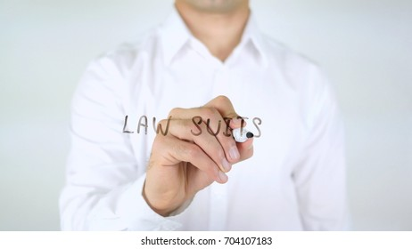 Law Suits, Man Writing on Glass