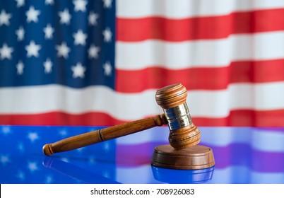 Law symbols on USA flag