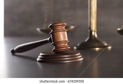 Law theme, Gavel of the judge, justice scale, books, gray background