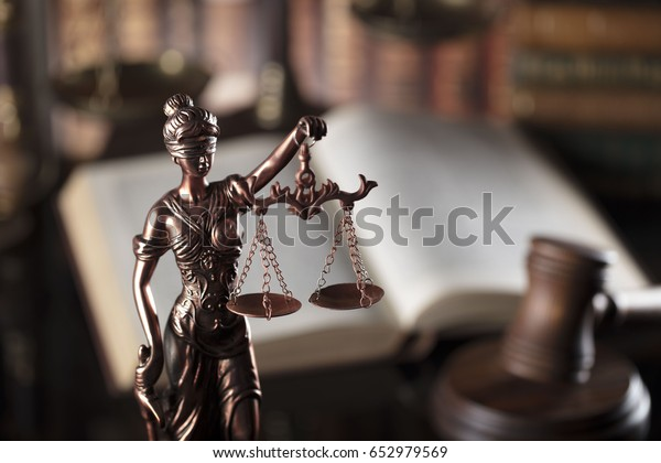 Law theme, Gavel of the judge, justice scale, books