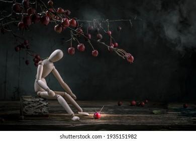 Gesetz der universellen Gravitation lustiges Konzept. Isaac Newton saß unter einem Apfelbaum