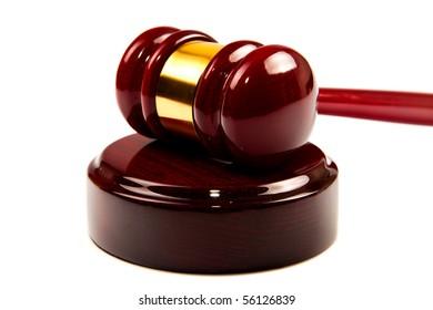Law (wood Gavel) on isolated white background