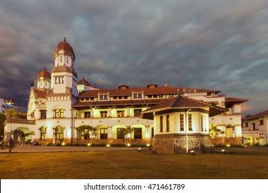 "Lawang Sewu (""Thousand Doors"") is a landmark in Semarang, Central Java, Indonesia, built as the headquarters of the Dutch East Indies Railway Company. 29 November 2013"