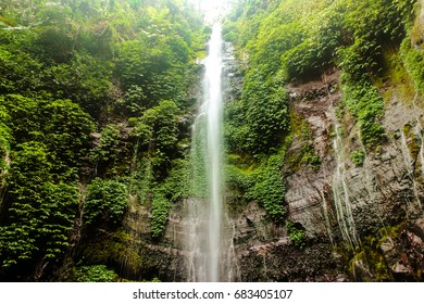 lawe waterfall in the jungle of Central Java
