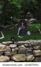 A lawn decorated for halloween.