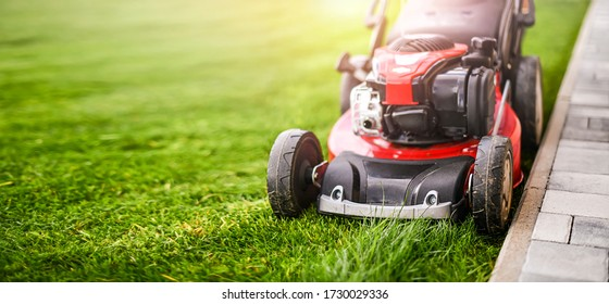 Lawn mover on green grass in modern garden. Machine for cutting lawns.