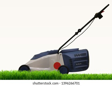 Lawn mower mows a lawn on a bright, sunny day, against a blue sky
