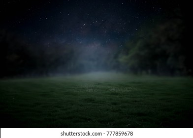 The lawn in the night sky has a beautiful Milky Way.